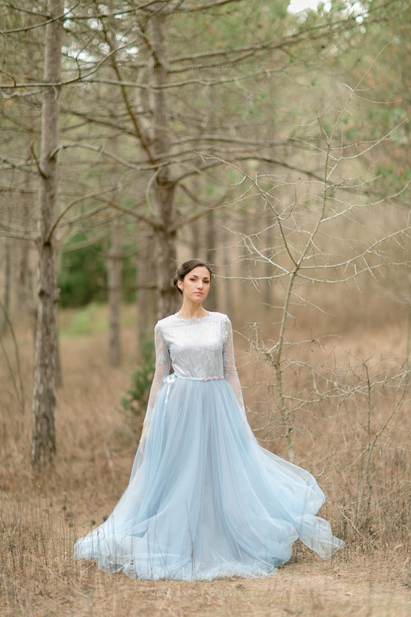 Blue wedding dress by Anna Skoblikova