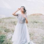 Delicate and airy grey wedding dress by Anna Skoblikova