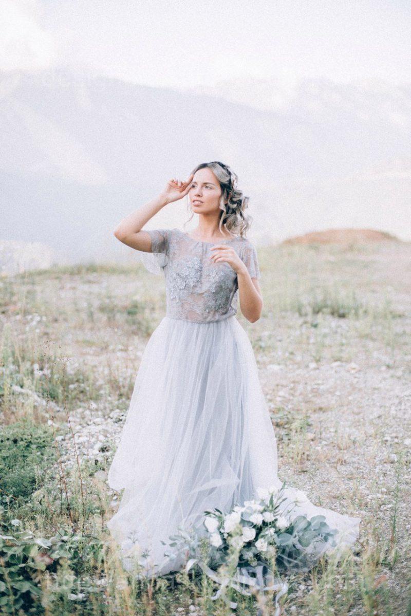 Delicate and airy grey wedding dress by Anna Skoblikova