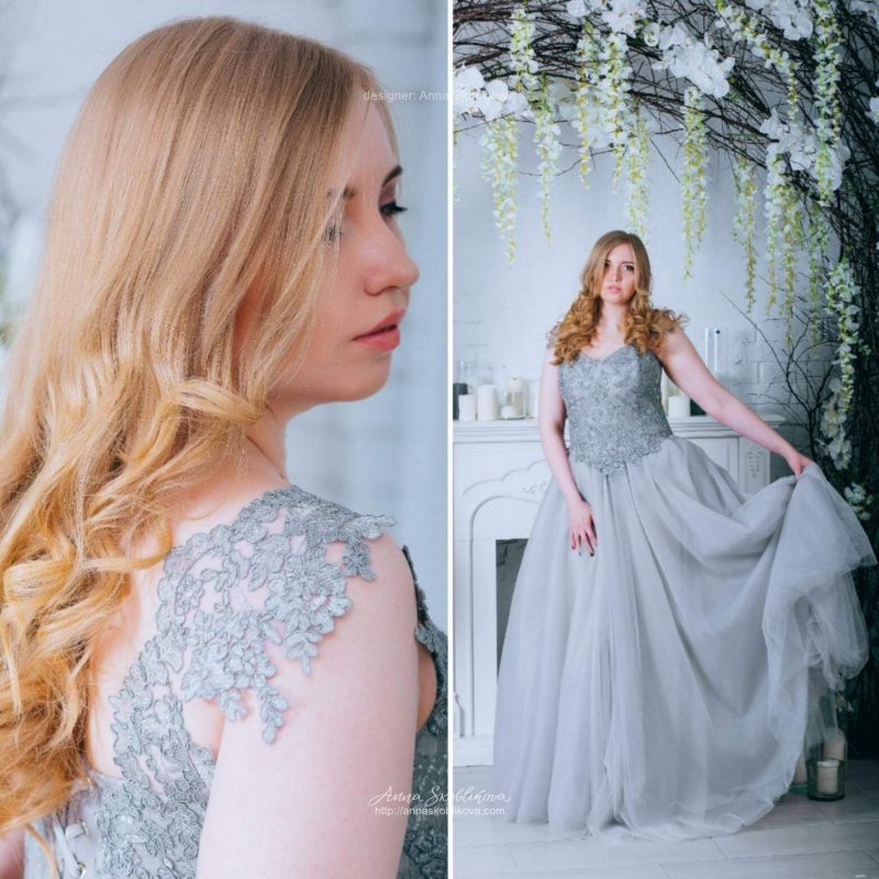 Grey Wedding dress with hand embroidery by Anna Skoblikova