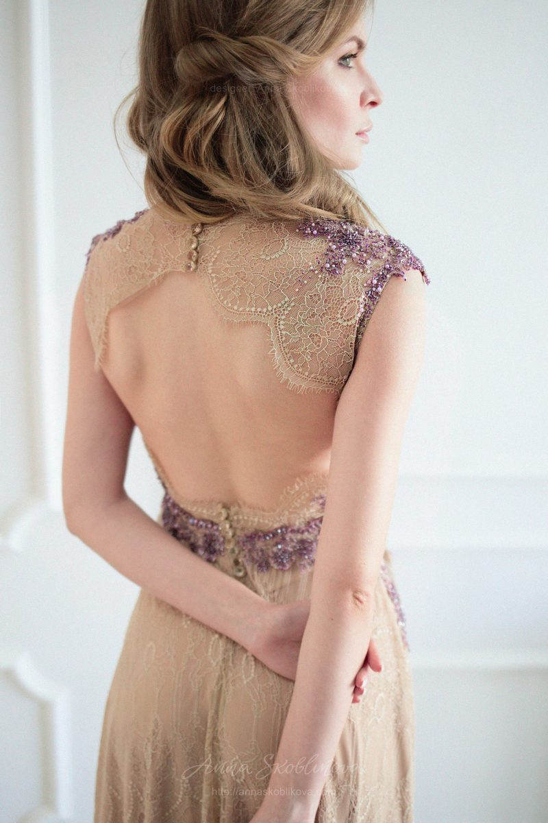 Beige Chantilly Lace Wedding Dress by Anna Skoblikova