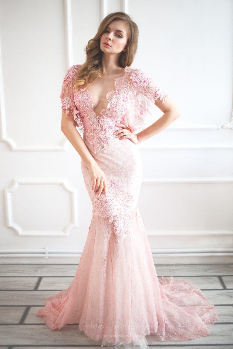 airy light pink wedding dress  anna skoblikova