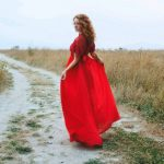 Red Wedding dress with two lace kinds by Anna Skoblikova