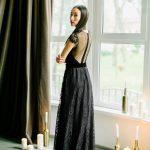 Black wedding dress with emphatic back by Anna Skoblikova