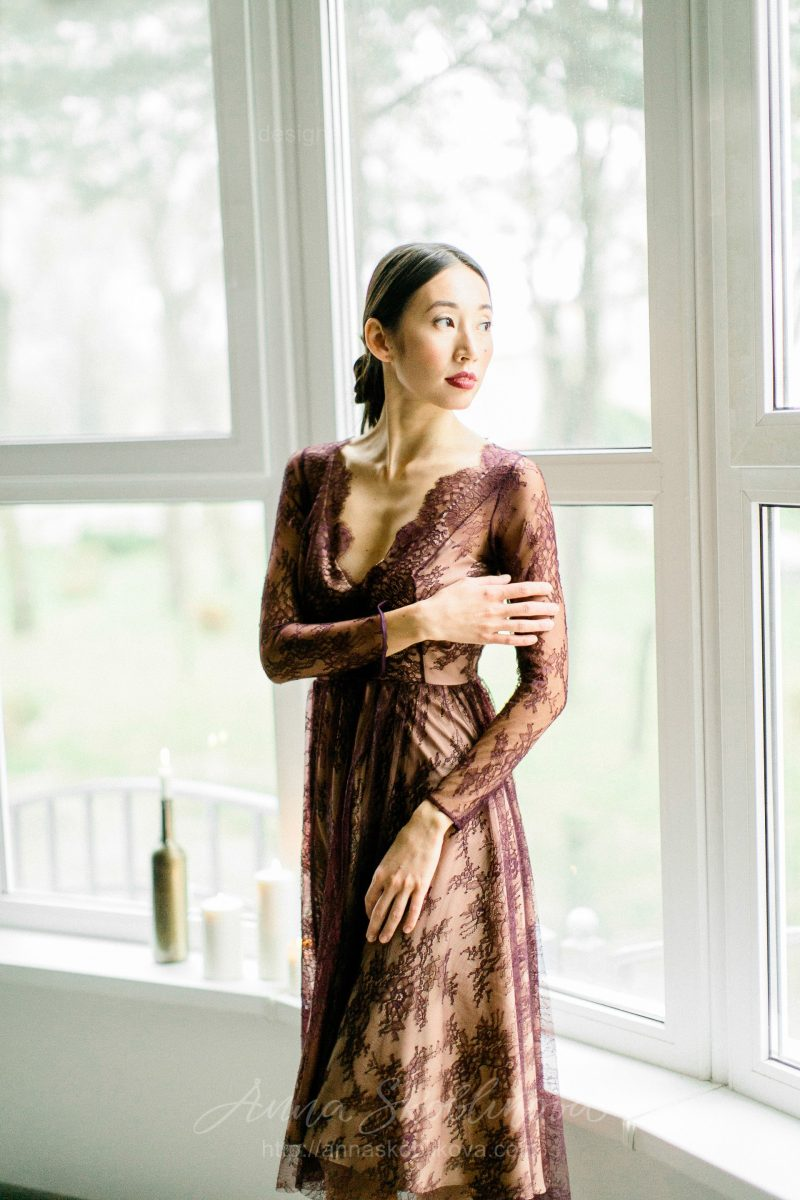 Simple berry red lace middle length wedding dress by Anna Skoblikova