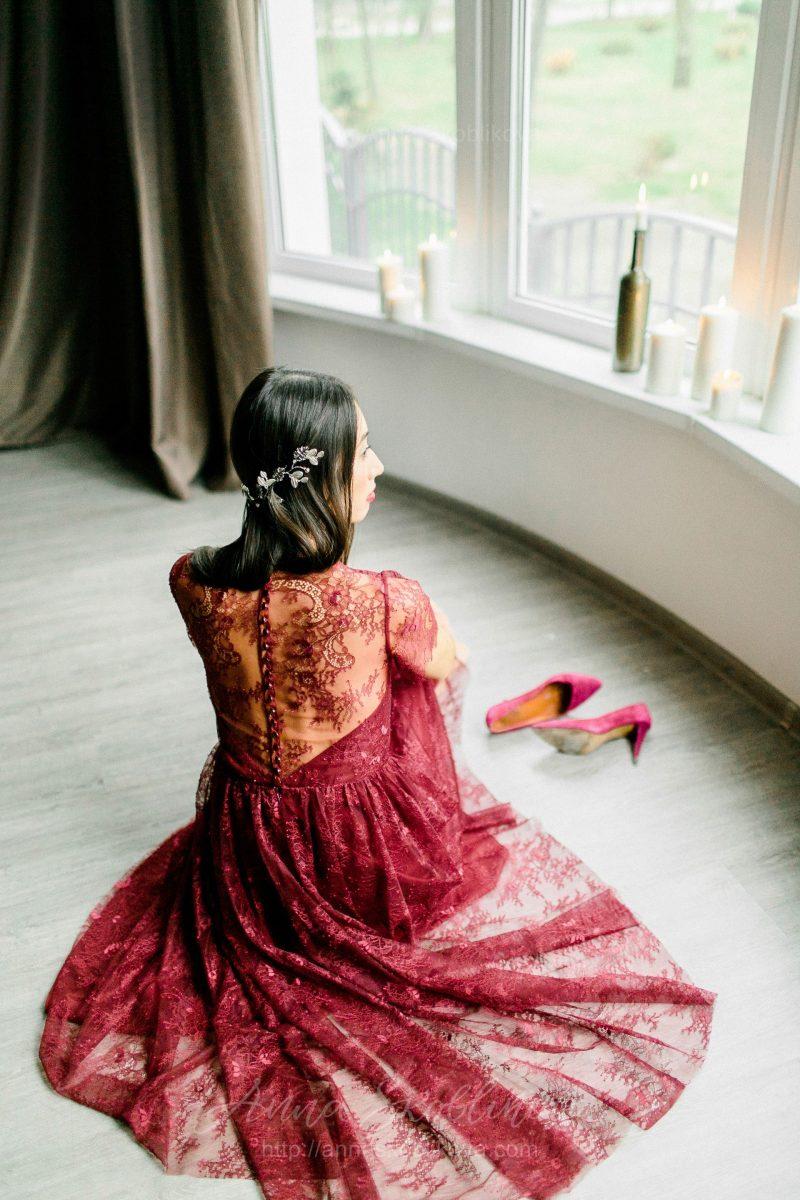 Вечернее и свадебное платье винного цвета от Anna Skoblikova