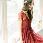 Wine red wedding dress by Anna Skoblikova