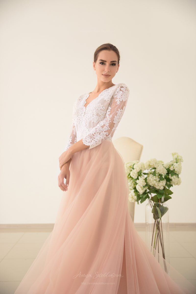 Pink Wedding Dress with powder shade by Anna Skoblikova