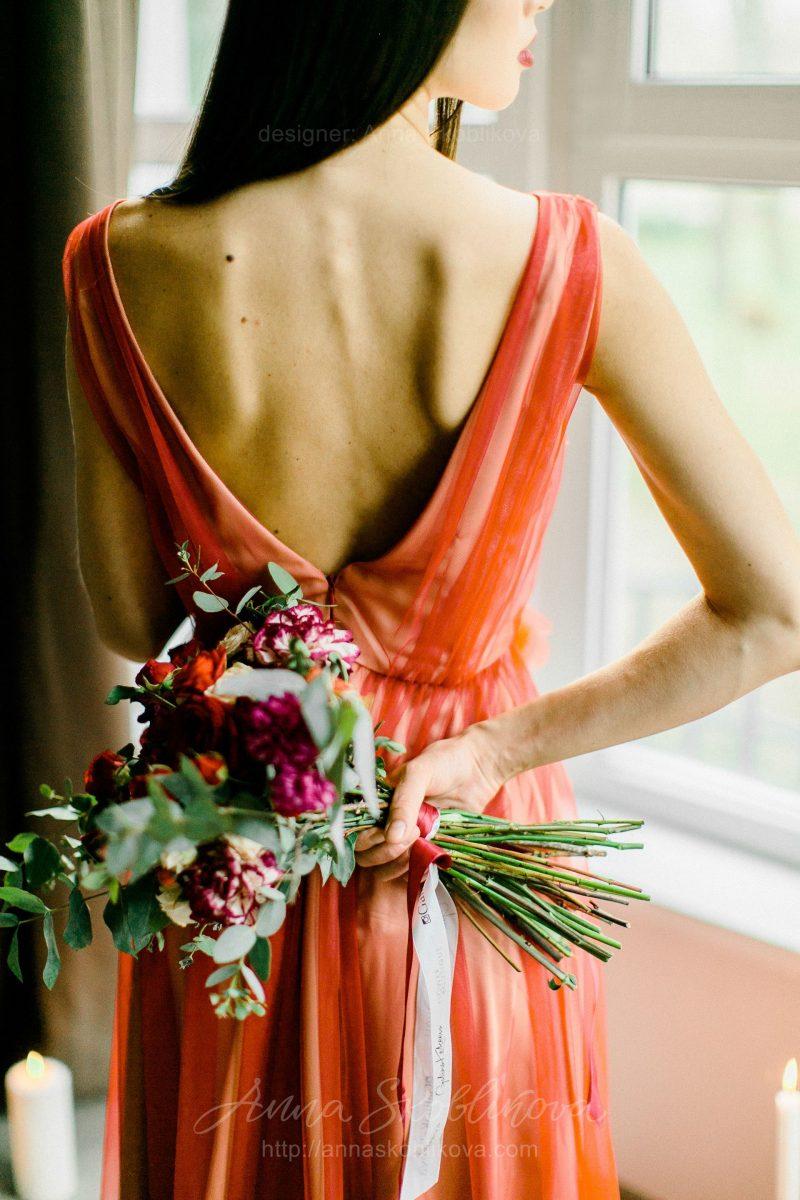 Вечернее и Свадебное платье красного цвета от Anna Skoblikova
