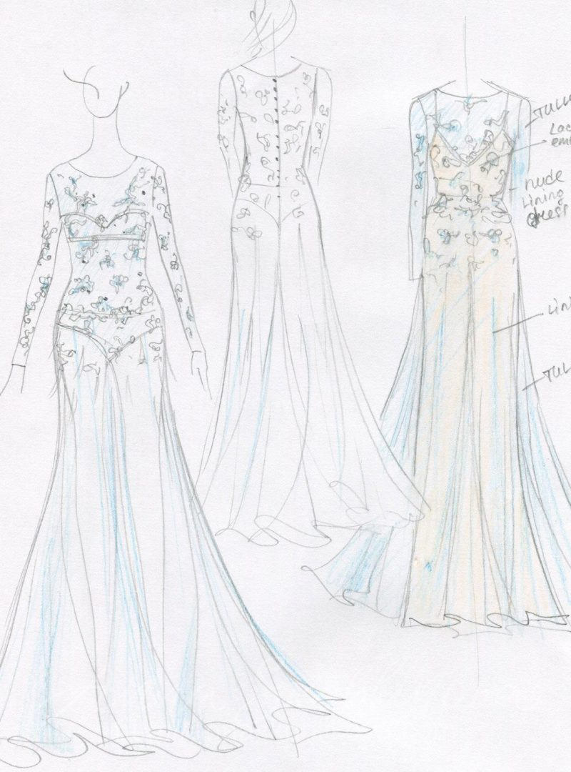 Голубое свадебное платье с ручной вышивкой от Anna Skoblikova