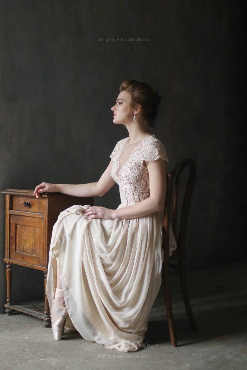 Свадебное платье  из натурального шелка от Anna Skoblikova