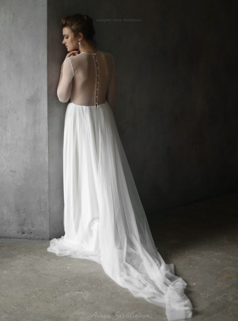 Свадебное и вечернее платье из сетки и шелка от Anna Skoblikova