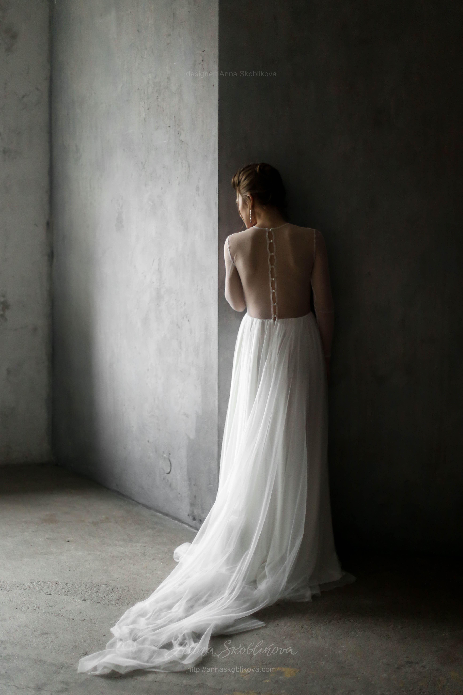 Tender Wedding dress of silk and European grid | Anna Skoblikova ...