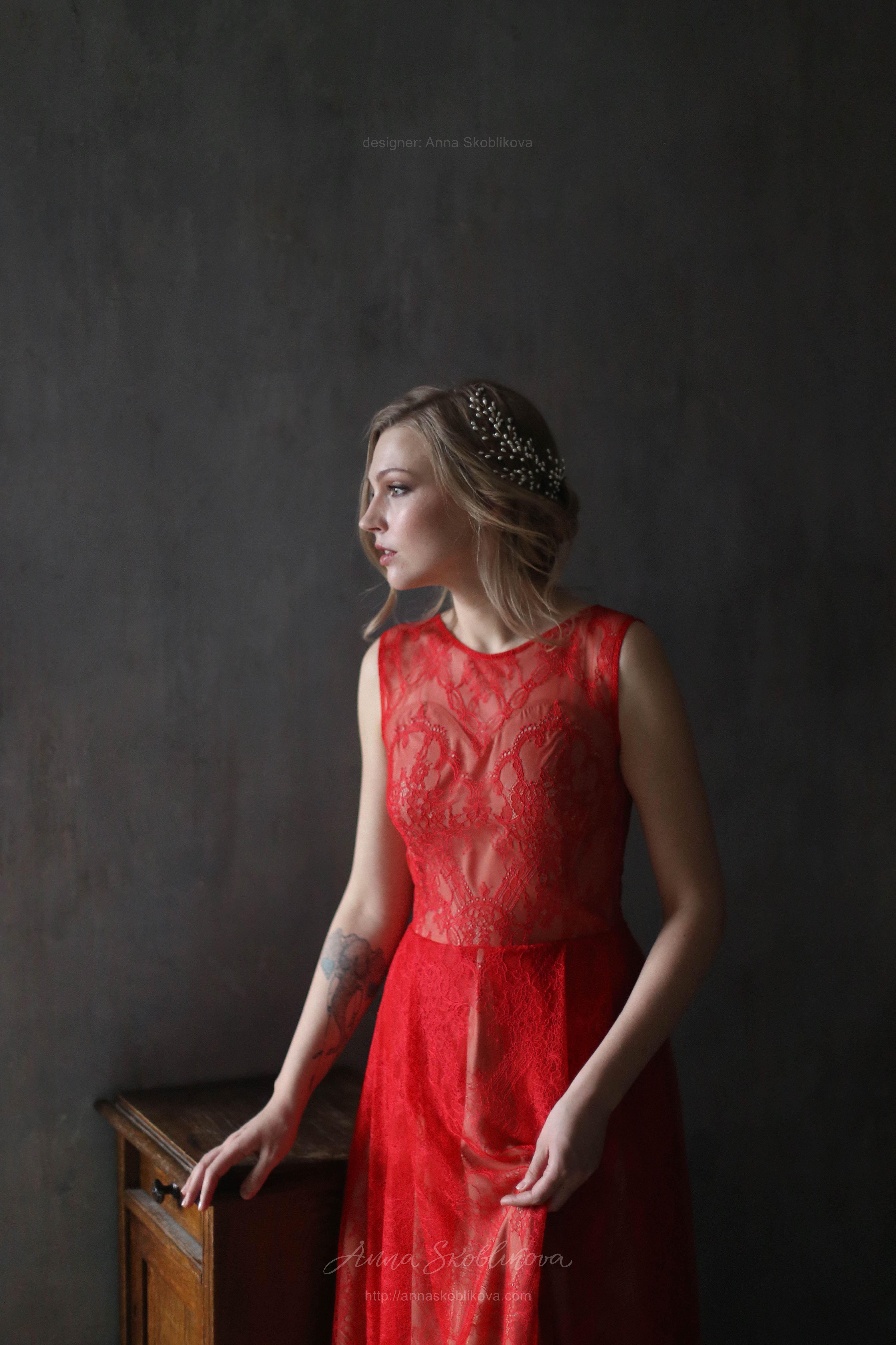 Red lace evening - Wedding dress | Anna Skoblikova - Wedding Dresses ...
