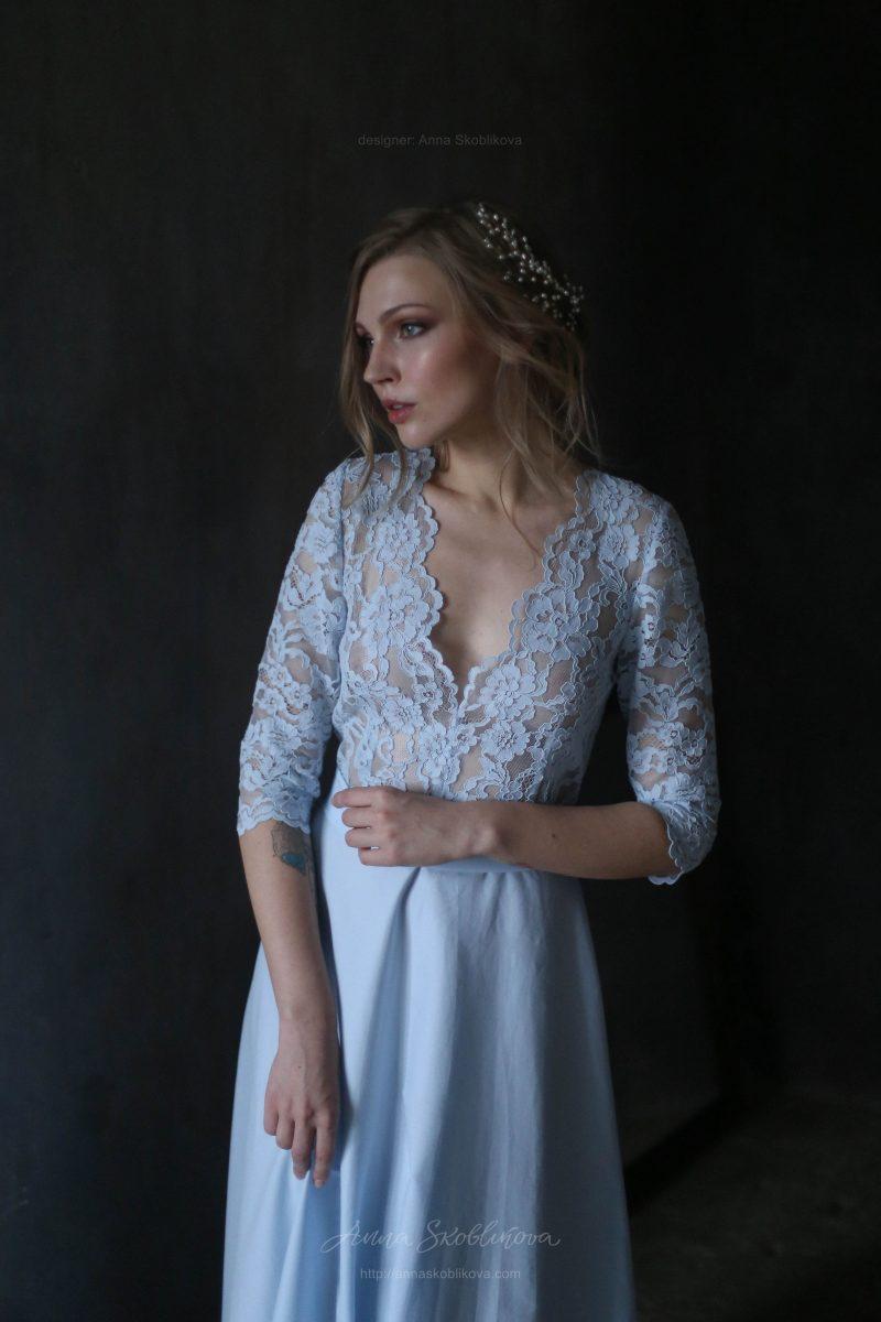 Романтичное свадебное и вечернее платье нежно голубого цвета от Anna Skoblikova