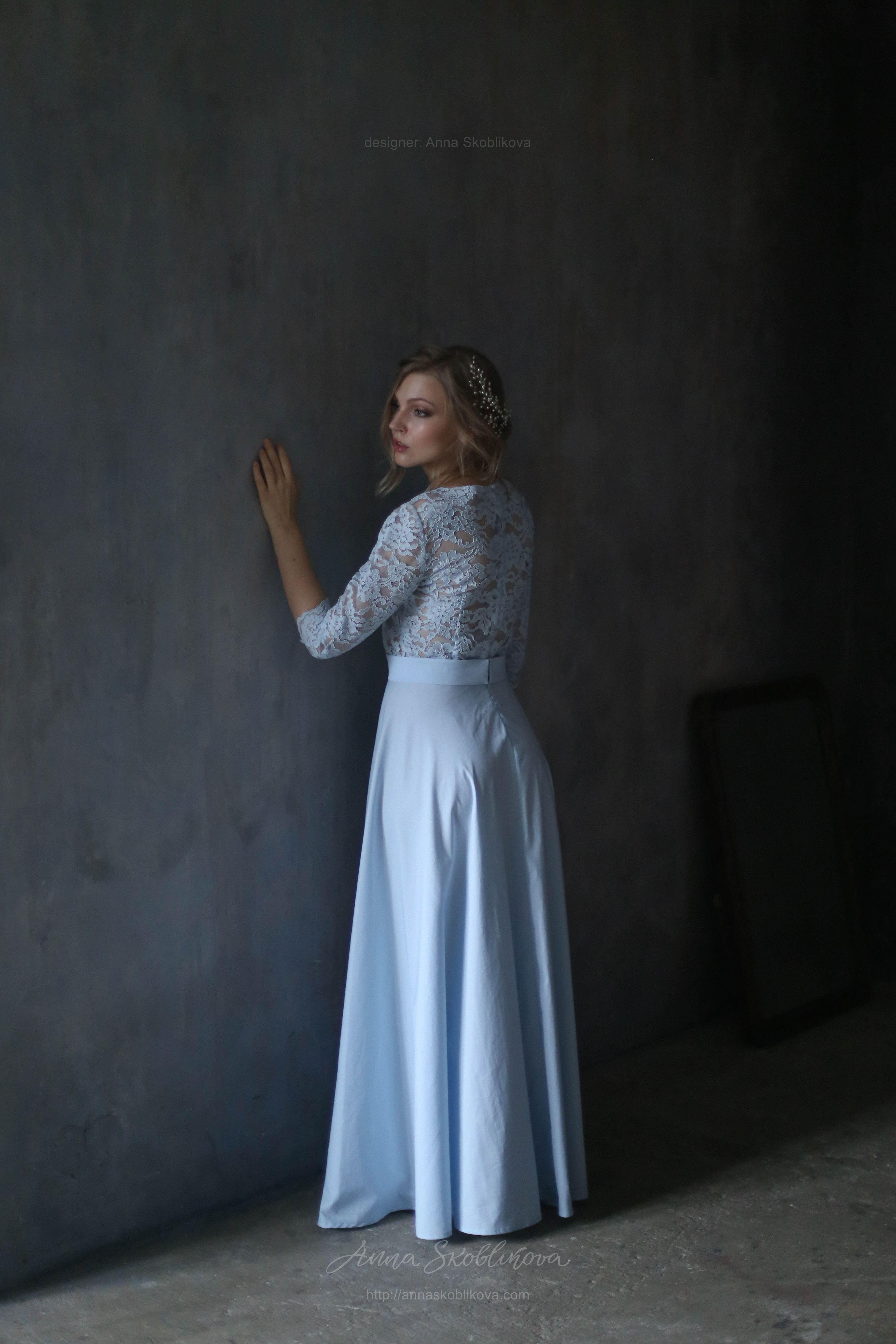 Romantic soft blue lace and plain cotton Wedding dress | Anna ...