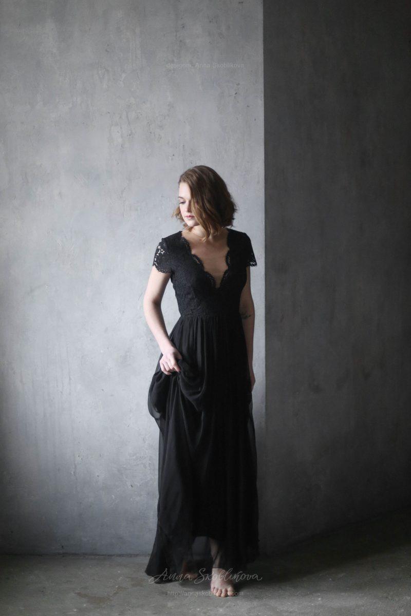 Вечернее и свадебное черное платье из шелка от Anna Skoblikova