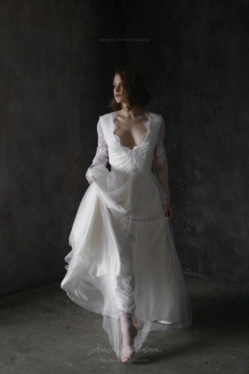 Свадебное платье с кружевным лифом от Anna Skoblikova