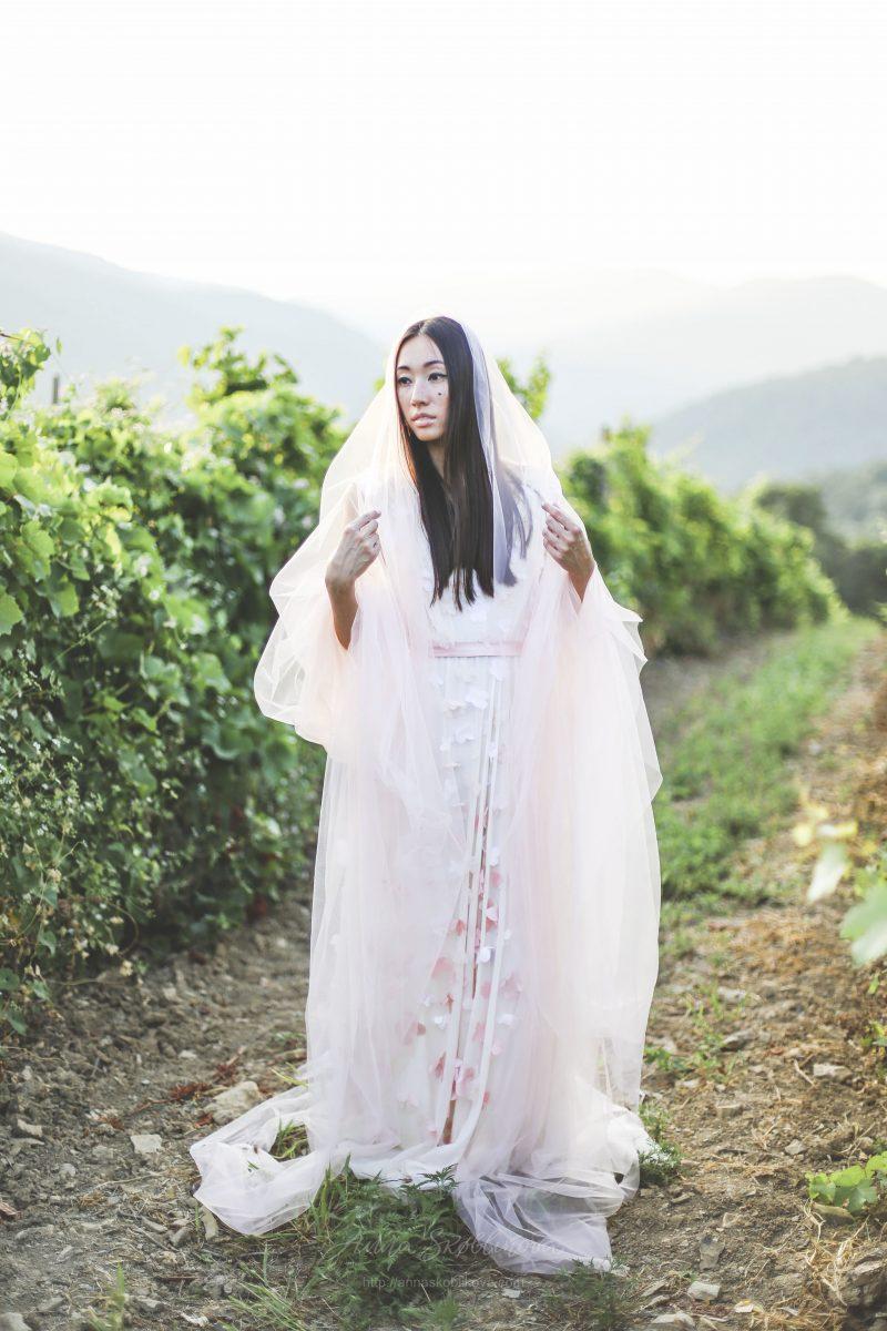 Delicate two-layered Wedding dress by Anna Skoblikova