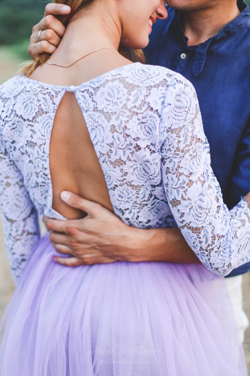Gentle lilac Wedding dress by Anna Skoblikova