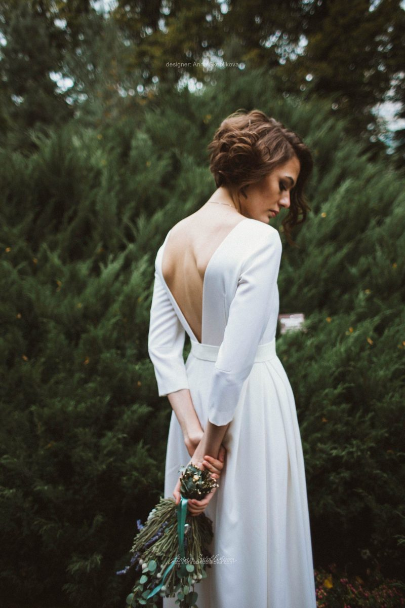 Silk Wedding Dress with V back by Anna Skoblikova