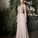 Вечернее платье бежево-золотого цвета от Anna Skoblikova