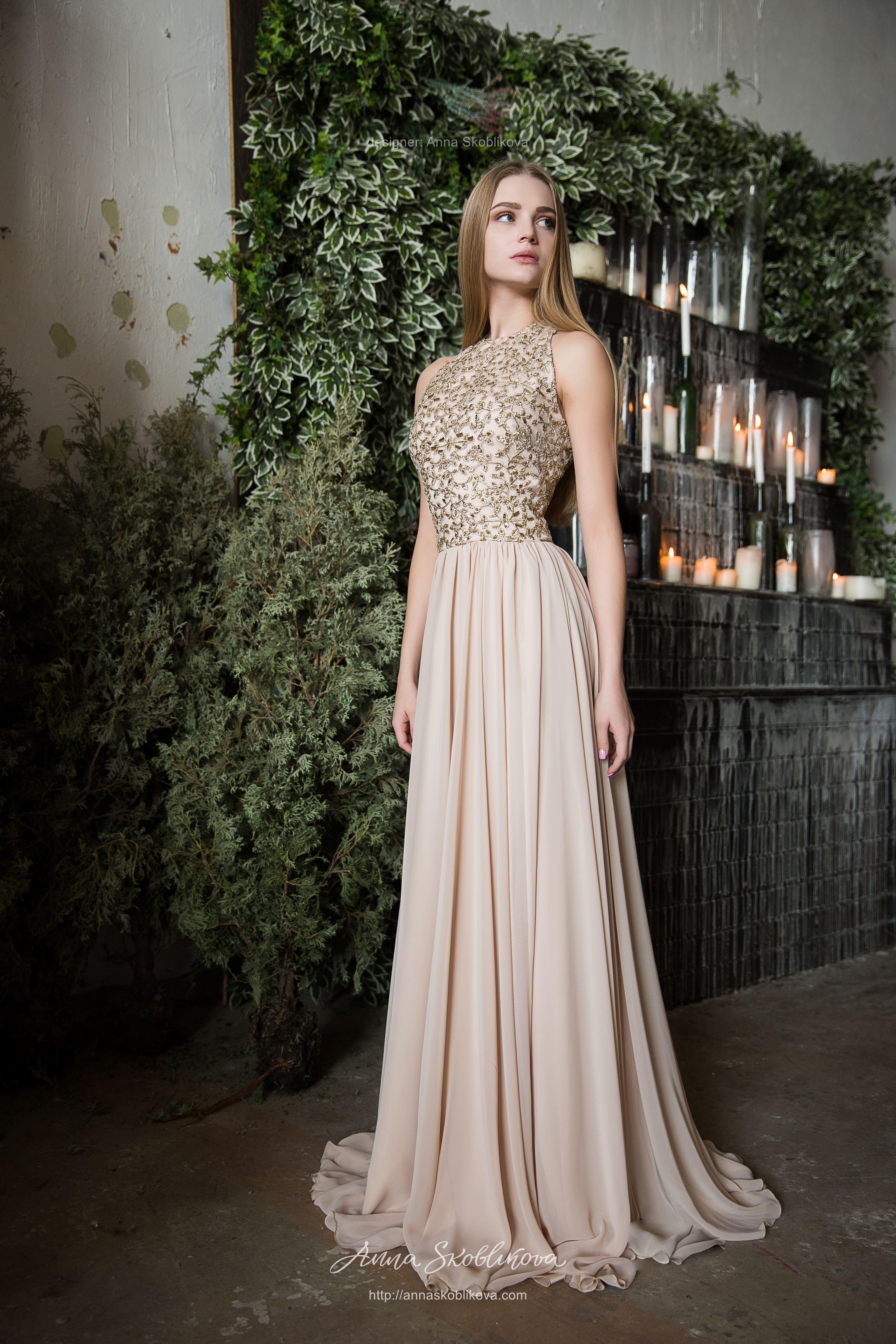 Evening beige-gold Wedding dress | Anna Skoblikova ...