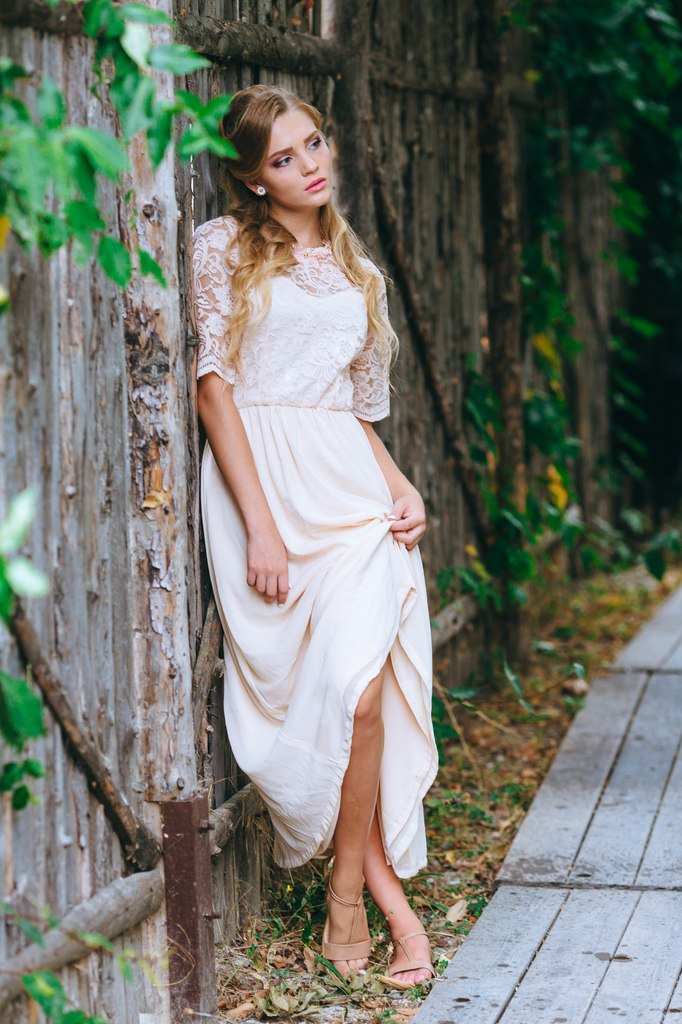Romantic Wedding dress from lace and silk by Anna Skoblikova