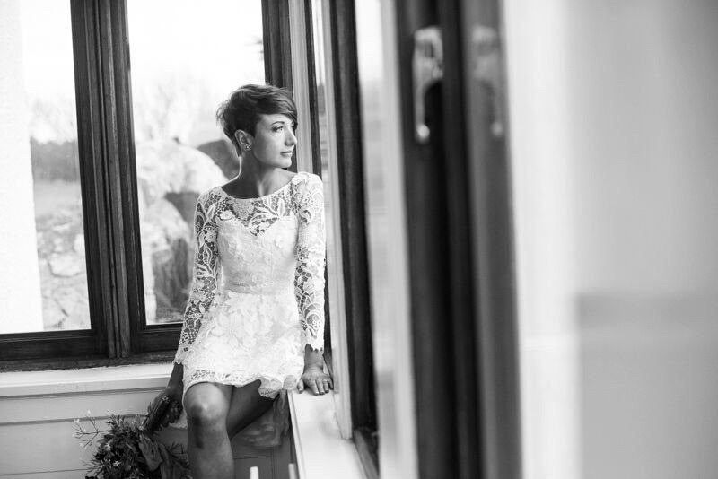 Open-back wedding dress with the fluffy skirt by Anna Skoblikova