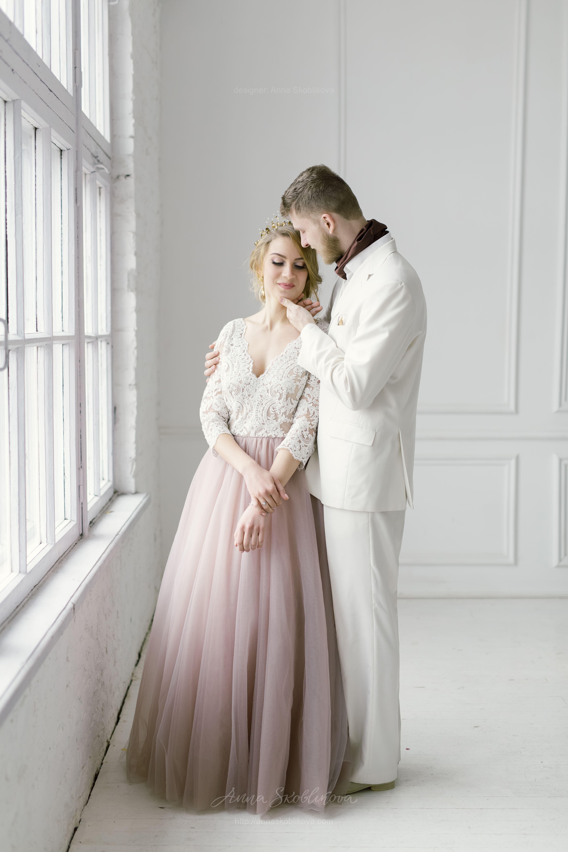 Wedding Gown featuring a skirt of dark powder colour | Anna ...