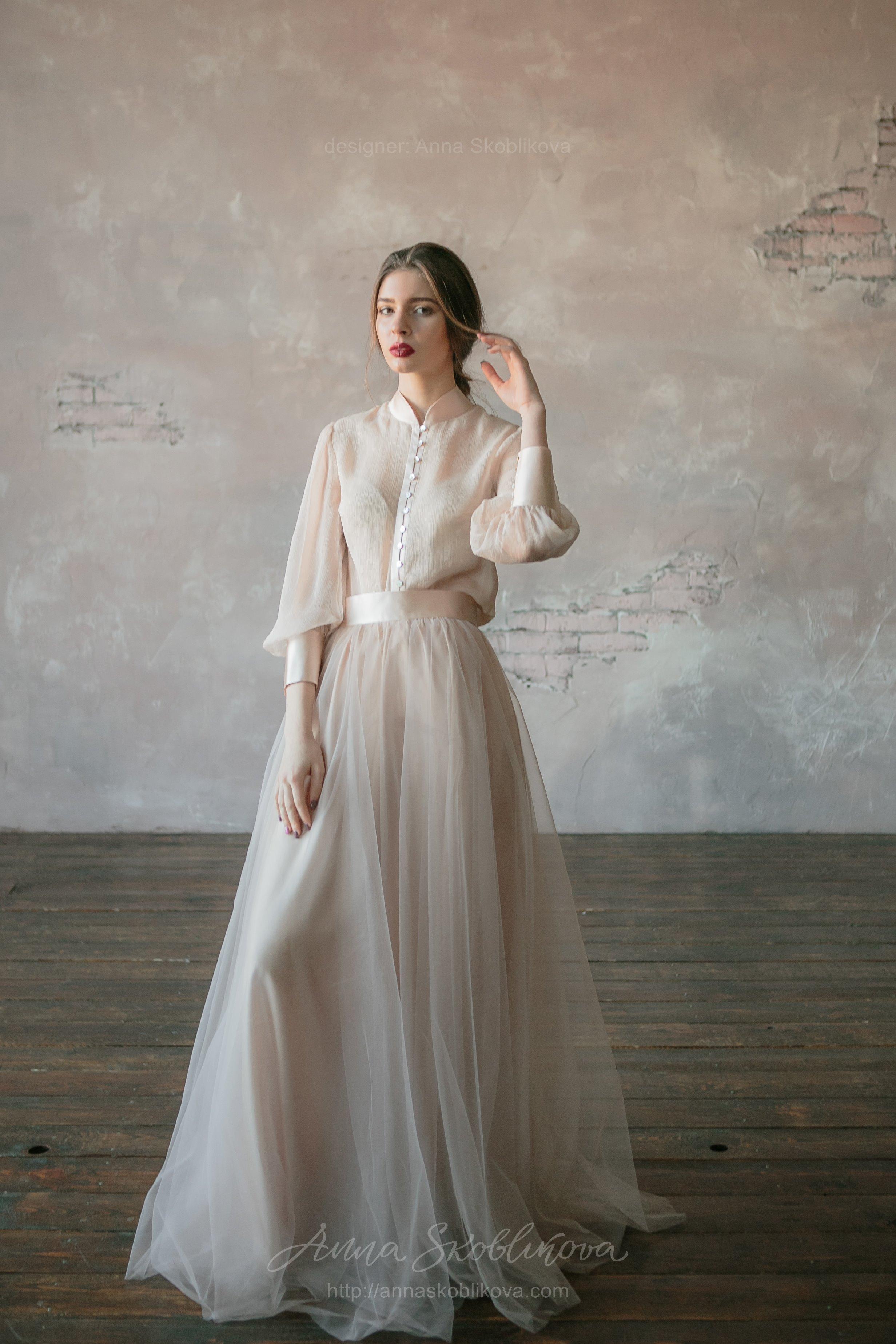 Silk Wedding Dress.Beige Two Piece Wedding Dress In Vintage Style Anna Skoblikova