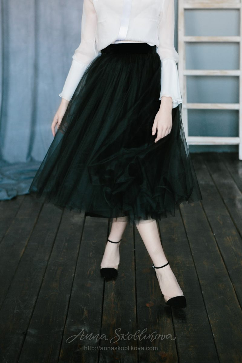 Черно-белый вечерник комплект юбка и блуза от Anna Skoblikova