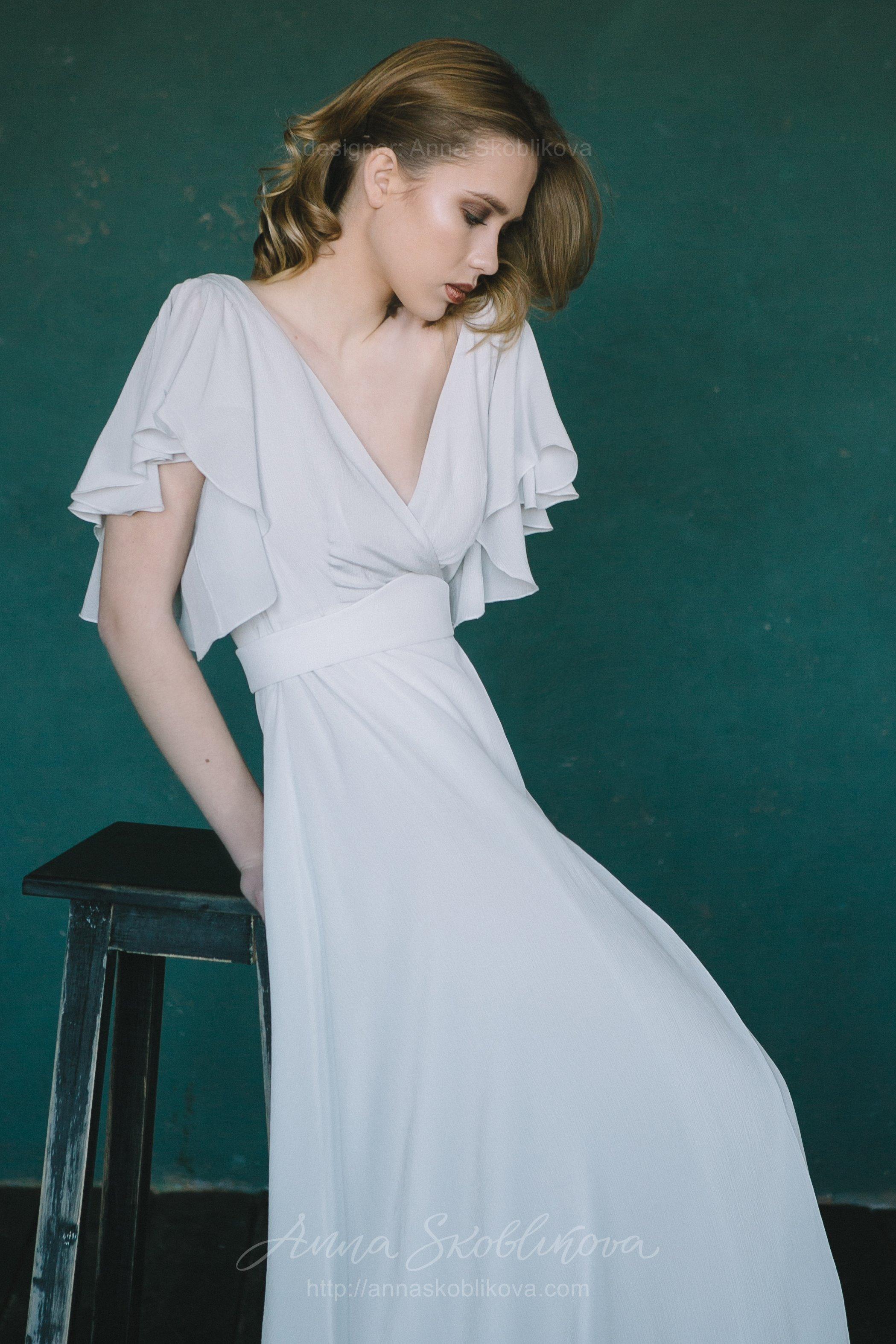 Natural Silk Light Grey Blue Wedding Dress Anna Skoblikova