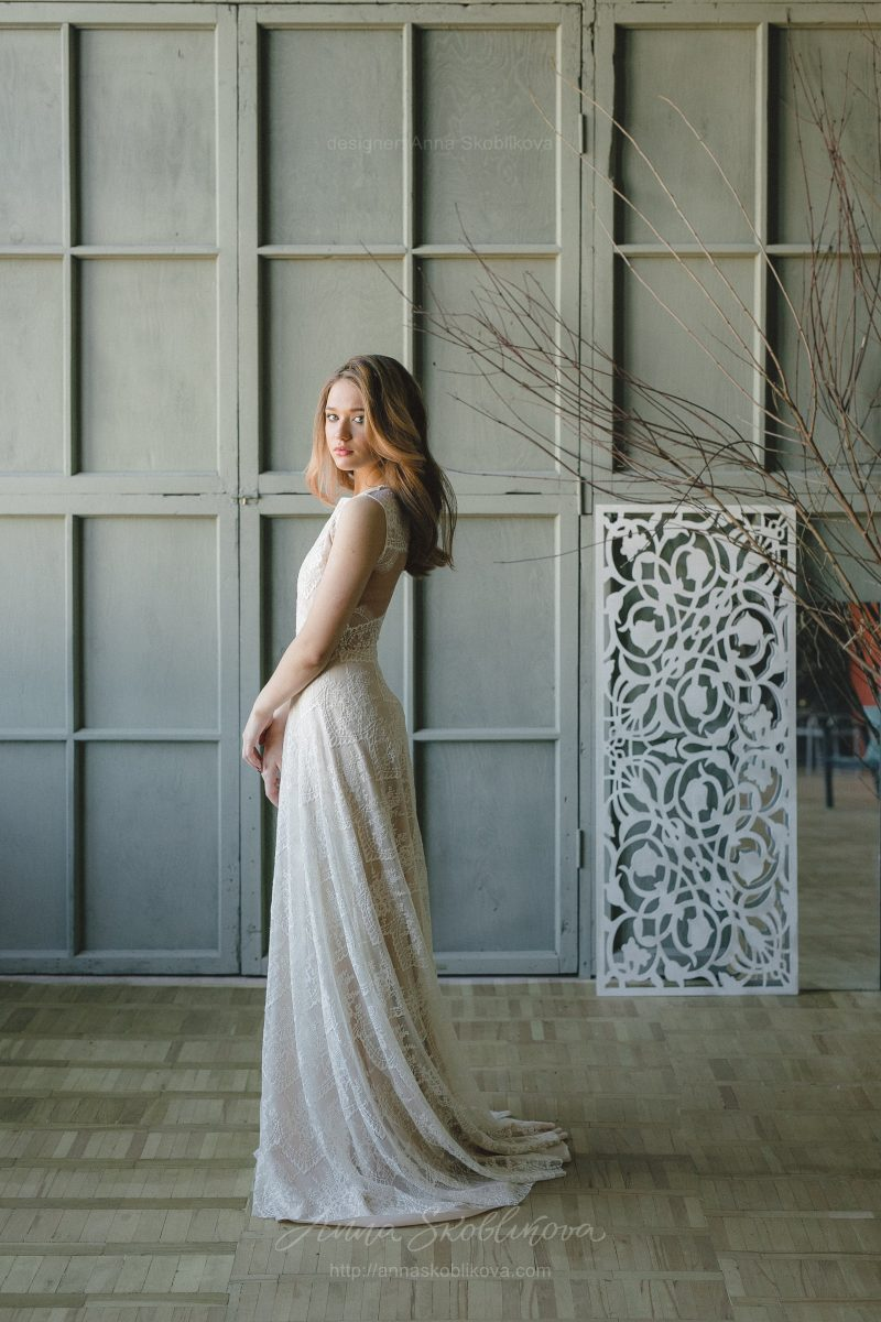 Champagne lace wedding dress with open back by Anna Skoblikova