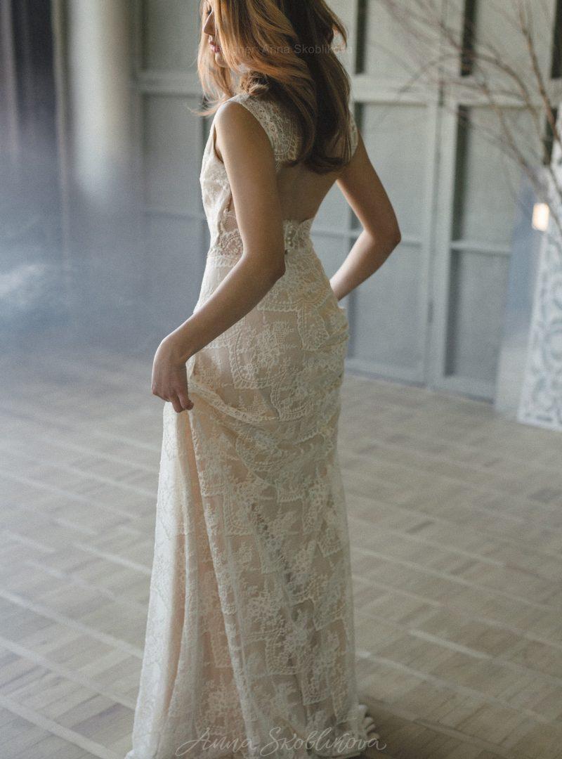 Свадебное платье кружева цвета шампань от Anna Skoblikova