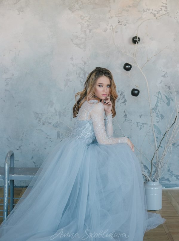 Wedding dresses anna skoblikova wedding dresses evening gowns blue grey wedding dress from lace and tulle junglespirit Choice Image