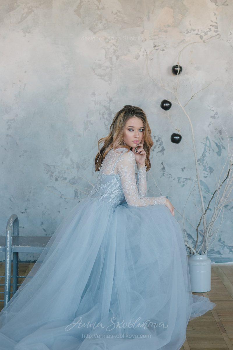 Cеро-голубое свадебное платье от Anna Skoblikova
