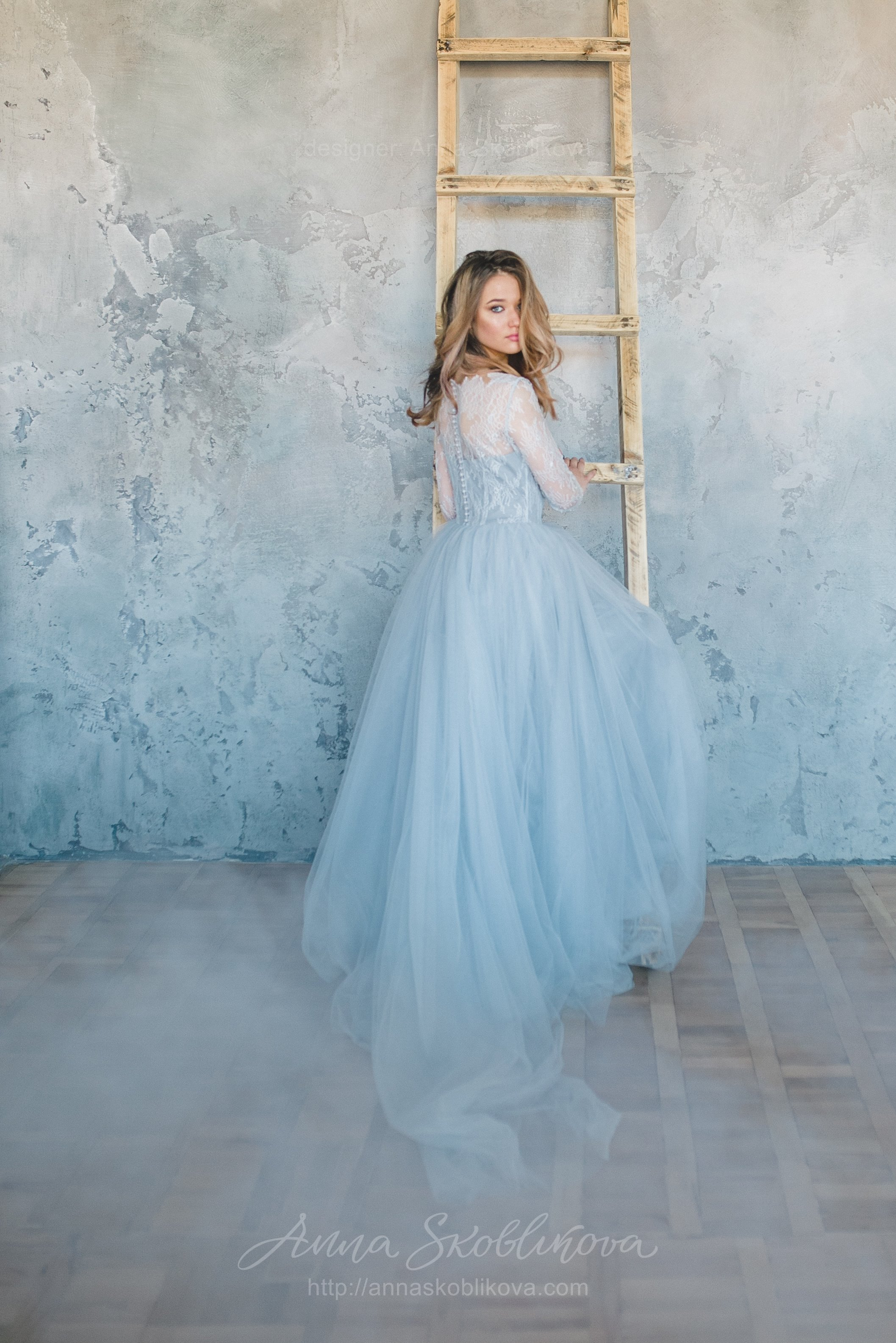 Blue Grey Wedding Dress From Lace And Tulle Anna
