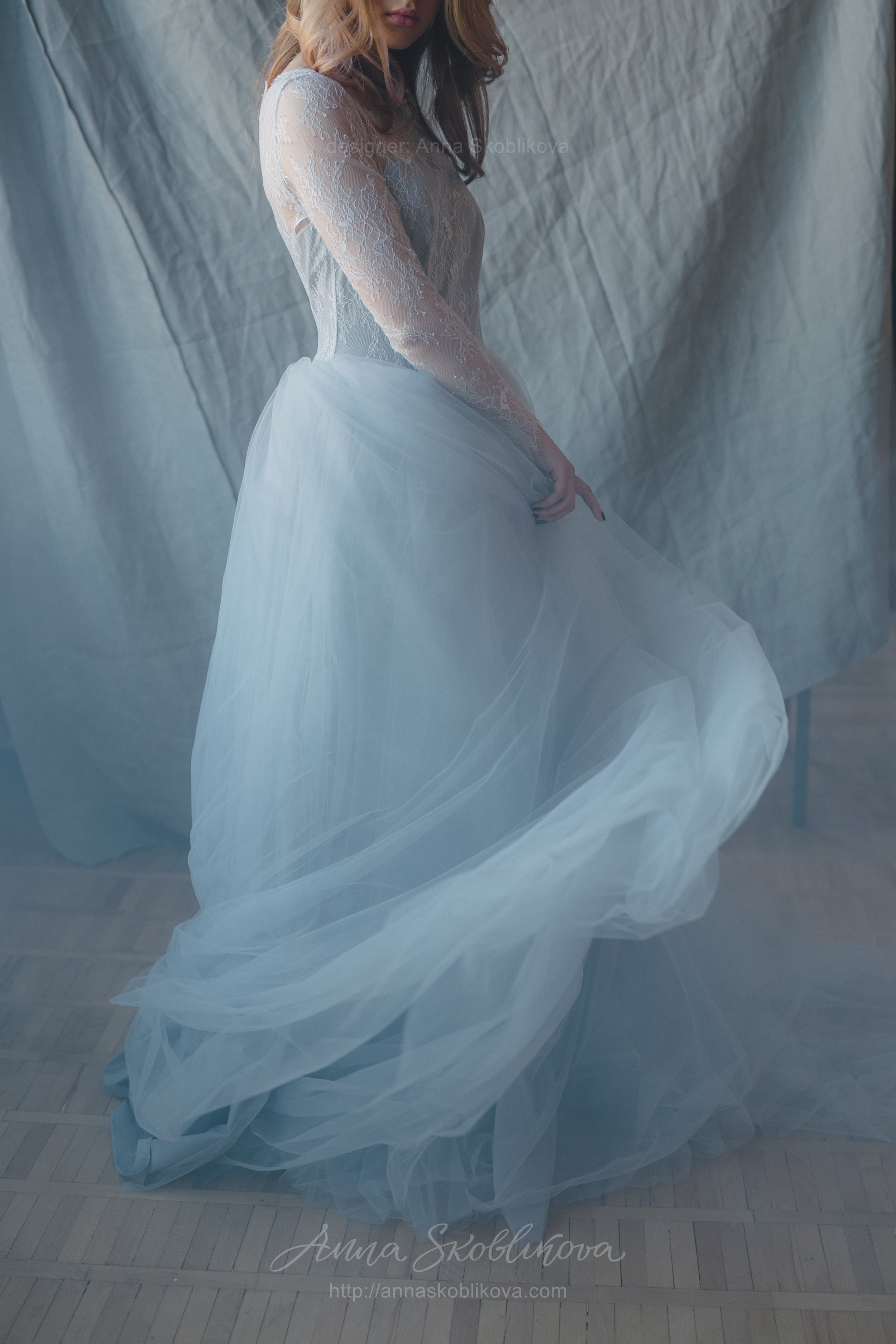 Blue-grey wedding dress from lace and tulle | Anna Skoblikova ...