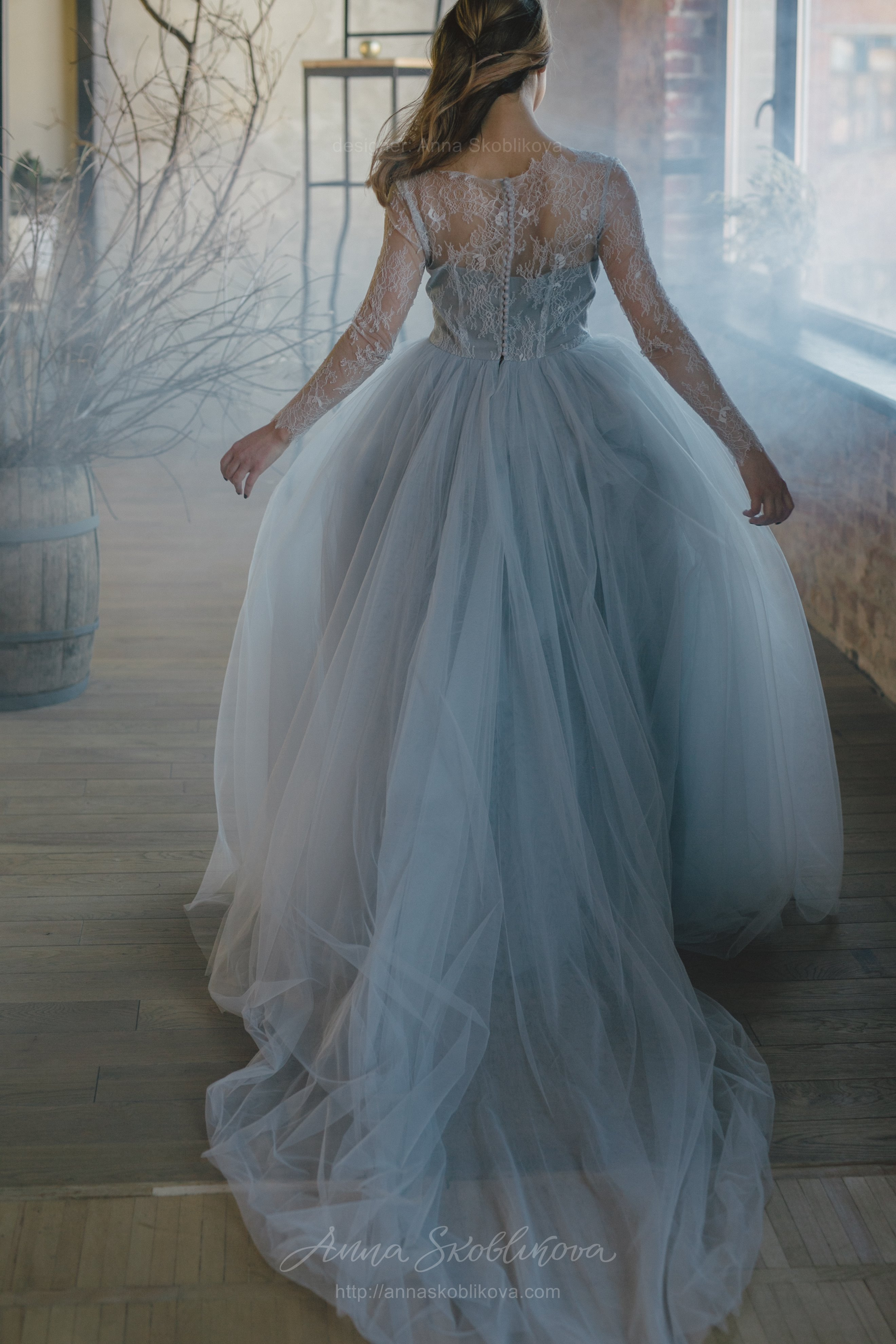 Blue grey wedding dress from lace and tulle Anna Skoblikova