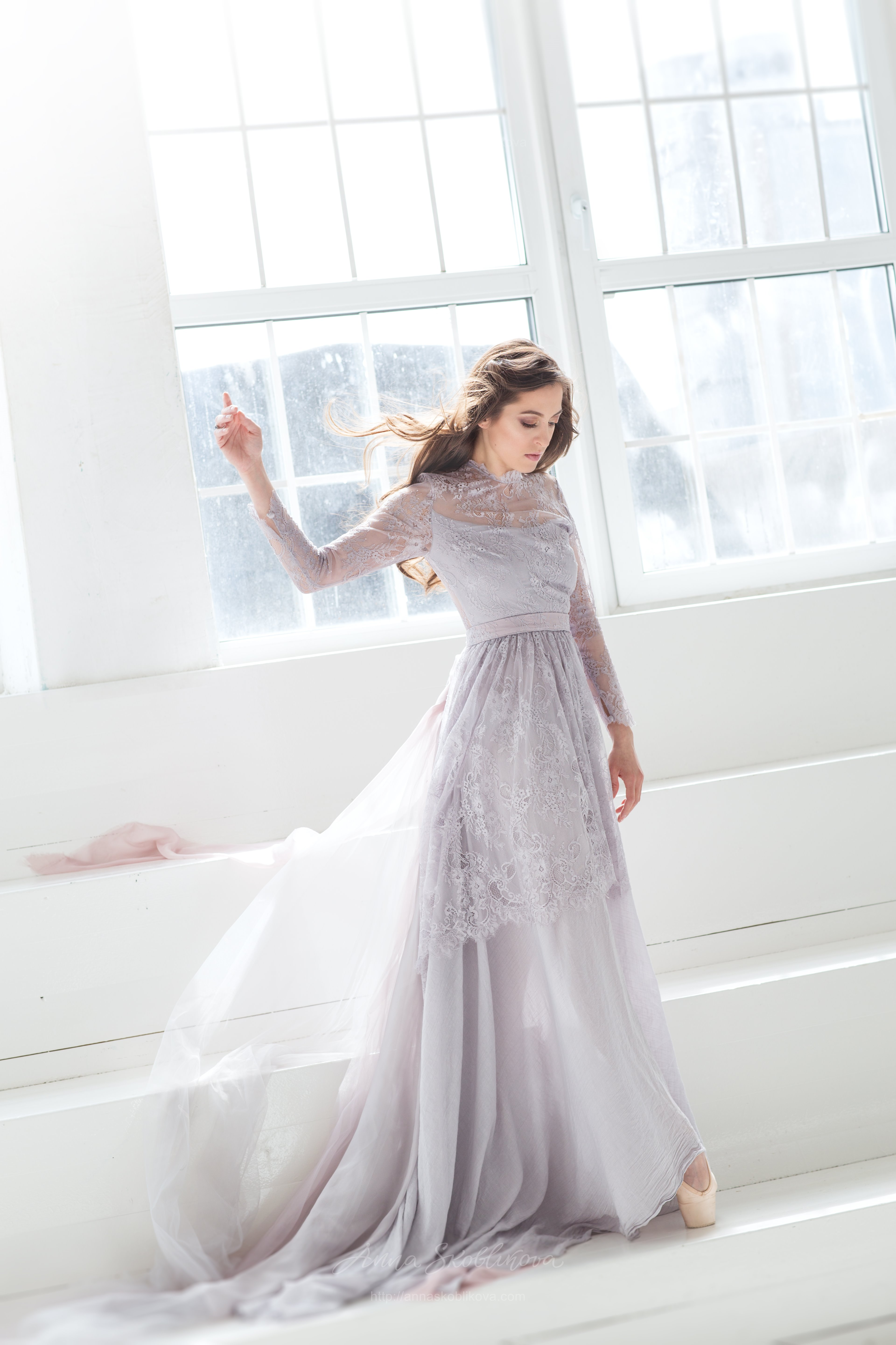 Clic Long Sleeves Wedding Dress Of Muted Grey Lilac Colour