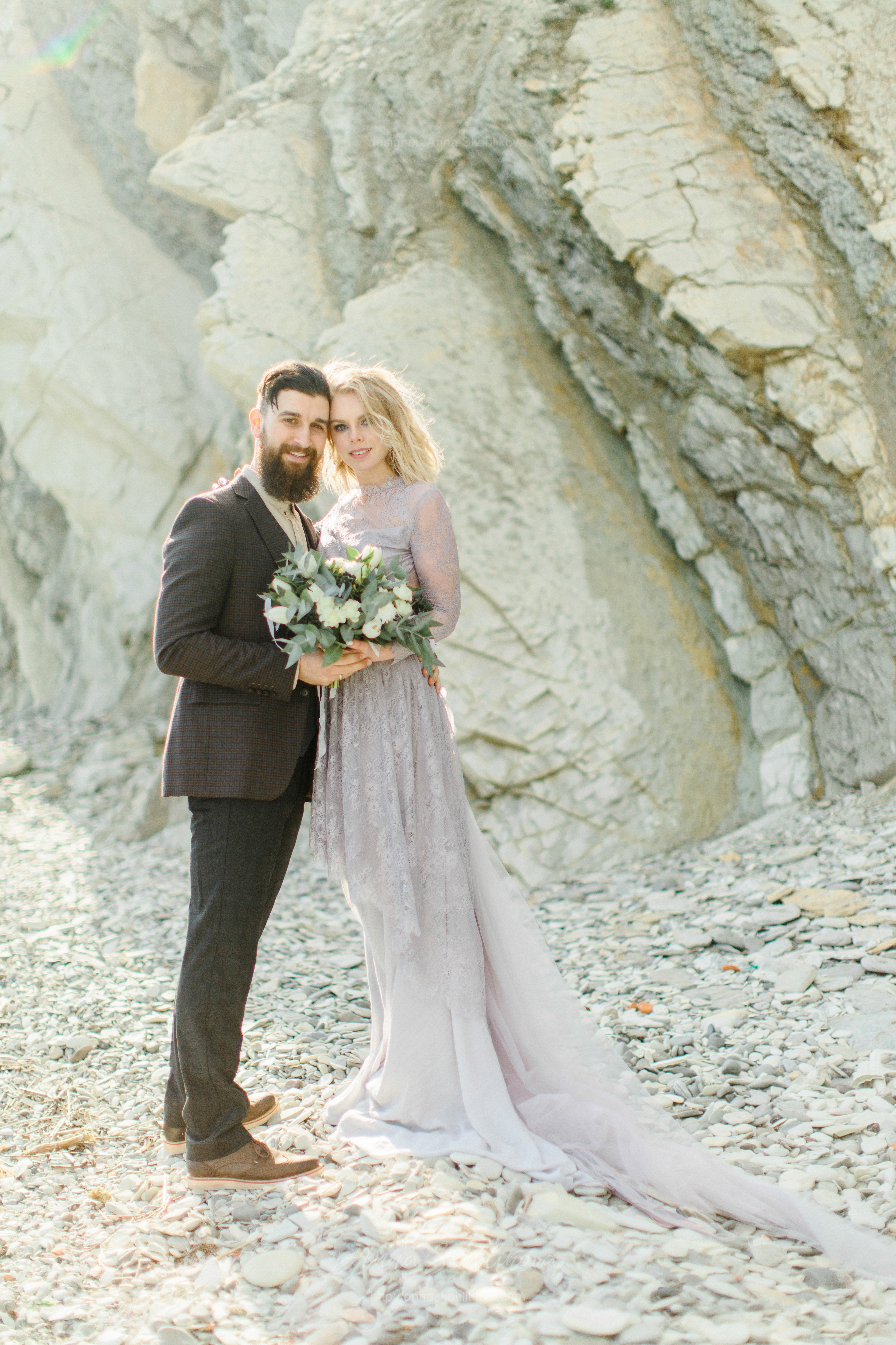 Classical wedding gown of muted grey-lilac colour | Anna Skoblikova ...