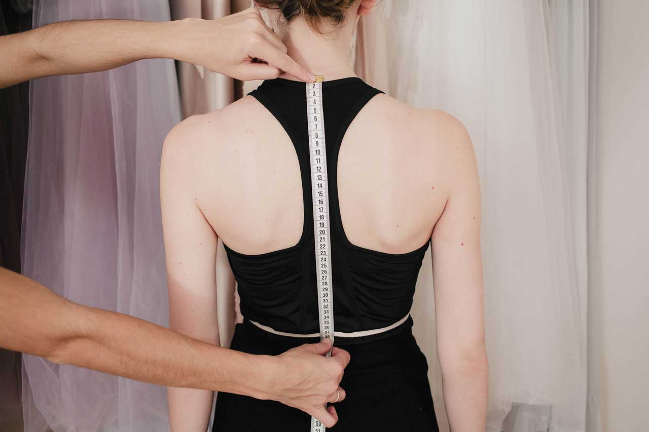 Central back length- It is measured from the seventh neck vertebra until the waist-line across the middle of spine. // Anna Skoblikova