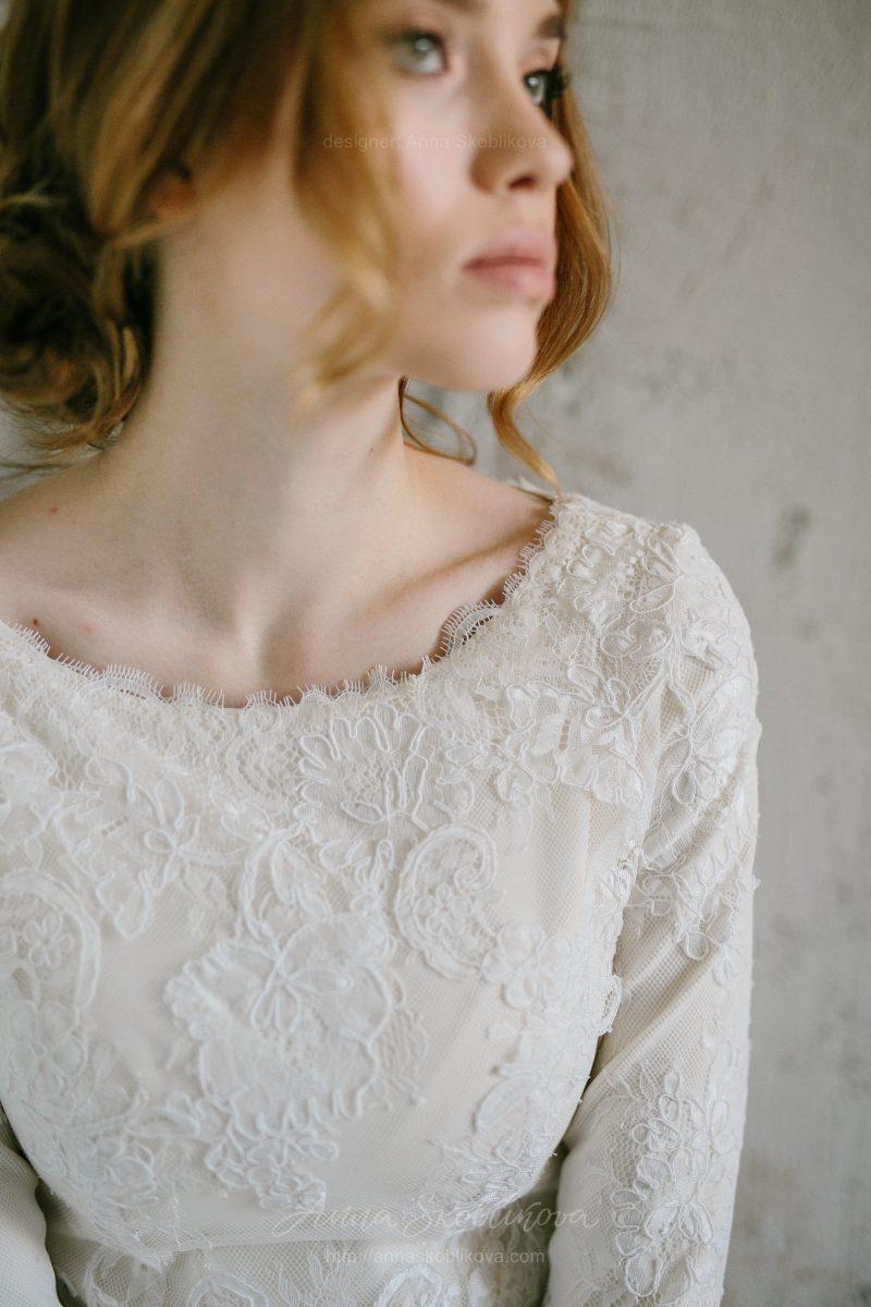 Роскошное зимнее свадебное платье из кружева c шелковой подкладкой и утеплено костюмной шерстью от Anna Skoblikova