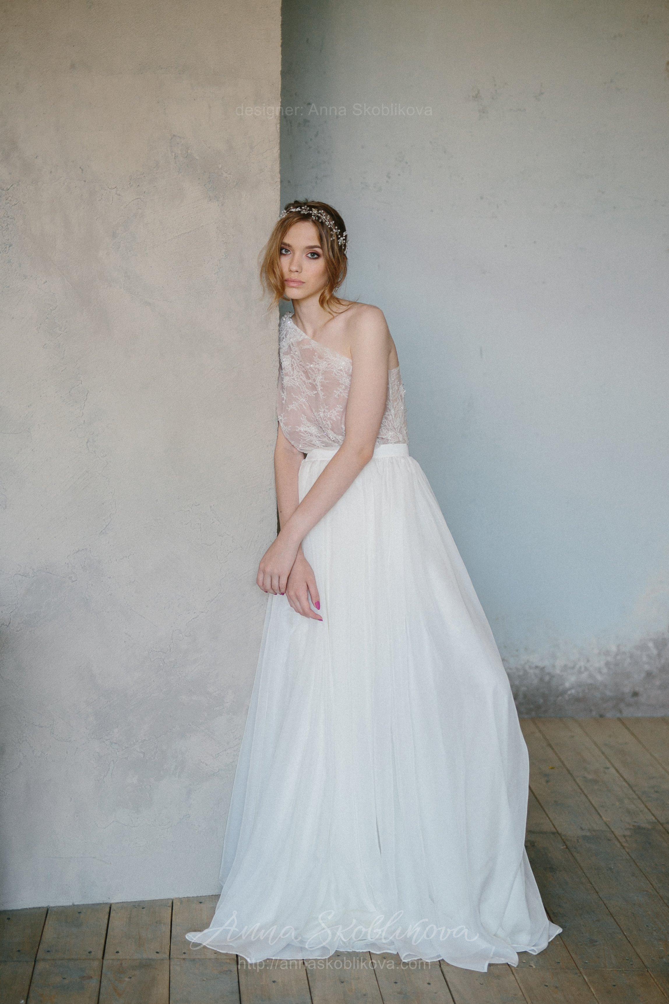 Two piece wedding dress from top and wrap skirt   Anna Skoblikova ...
