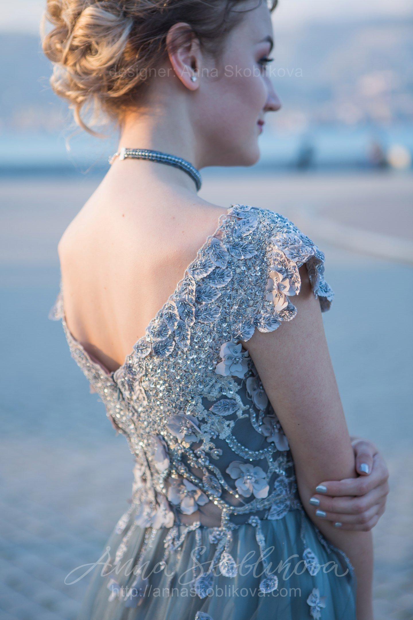 Платья вечерние ручной вышивкой