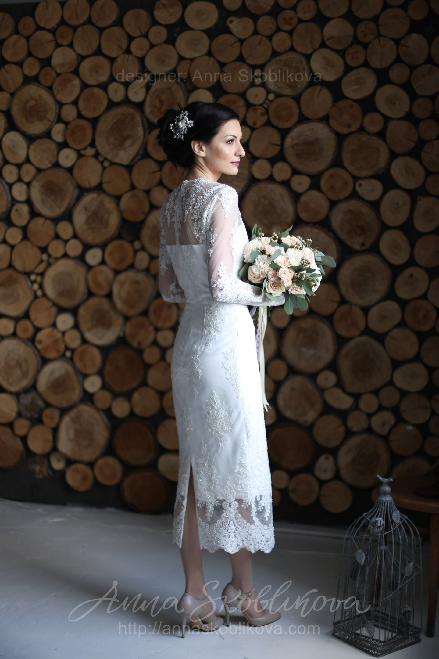 Laconic Lace Embroidered Wedding Gown