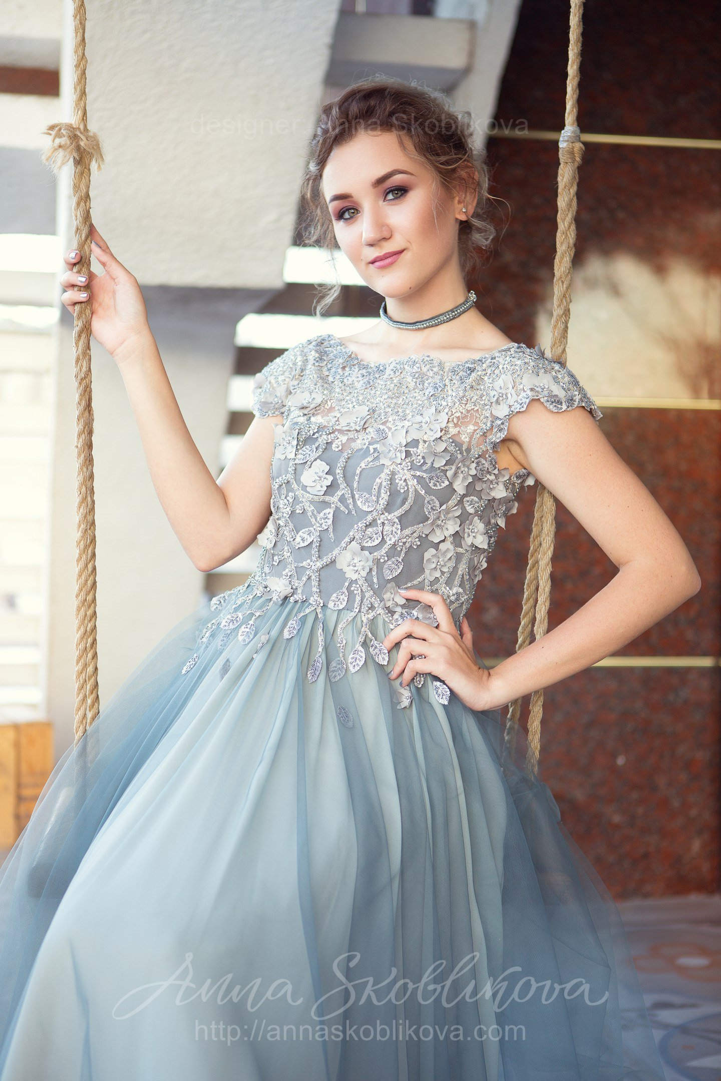 Luxurious gray-green evening and wedding gown | Anna Skoblikova ...
