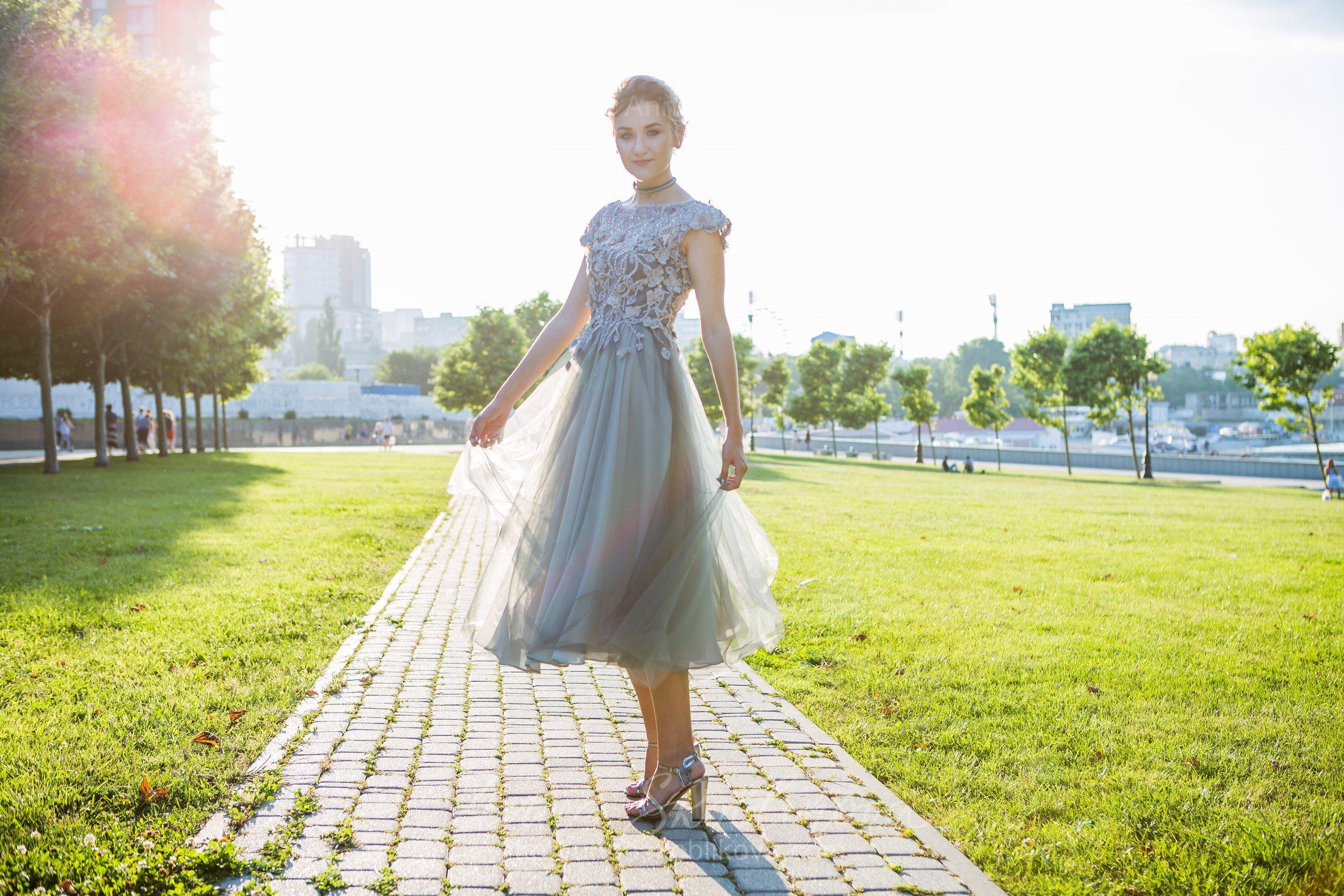 Luxurious gray-green evening and wedding gown   Anna Skoblikova ...
