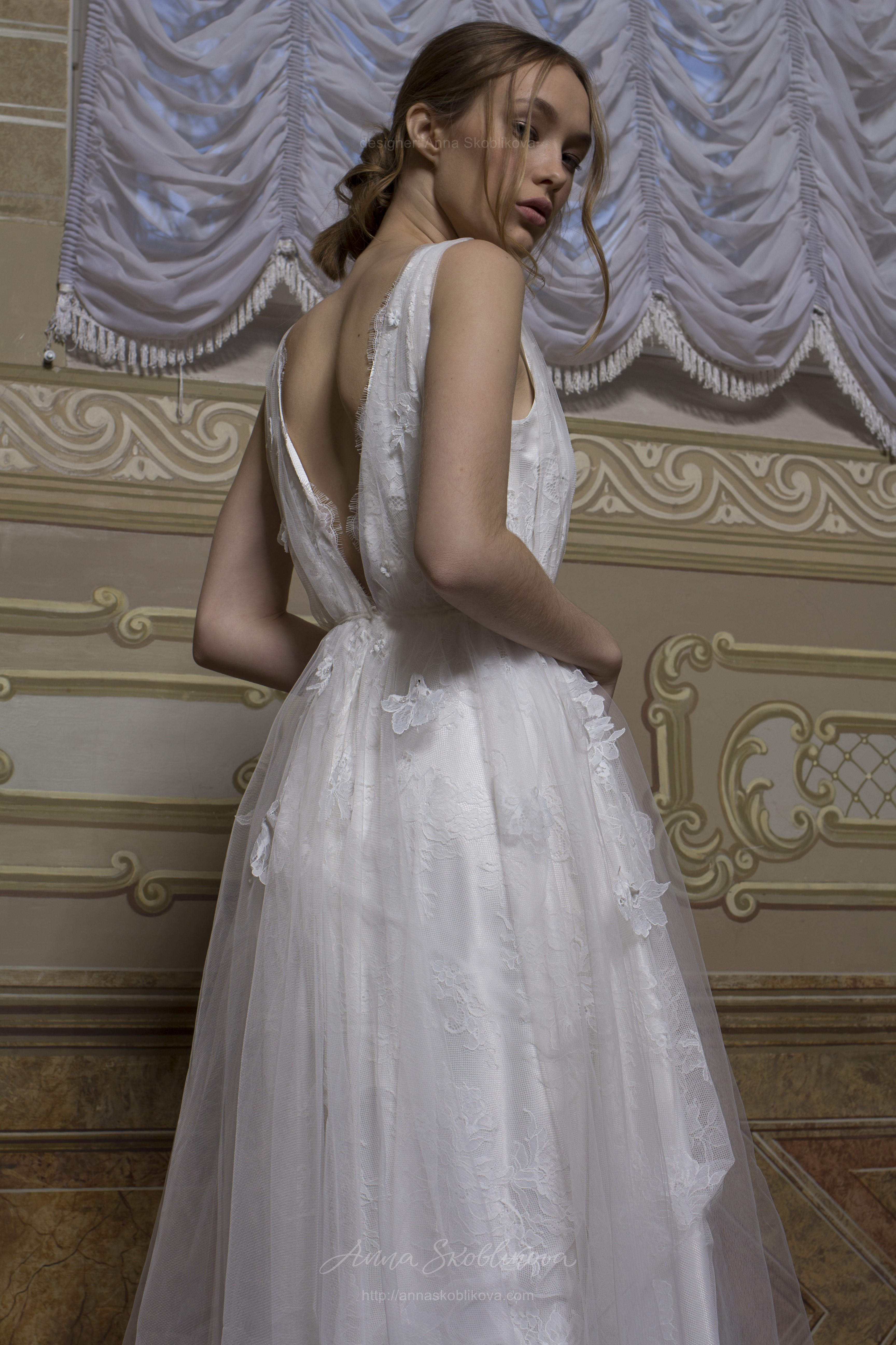 Ivanna - Classical wedding dress with 3D flowers and multilayered ...